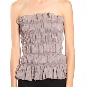 New A'Reve Taupe Brown Ruffle Tube Top S M L